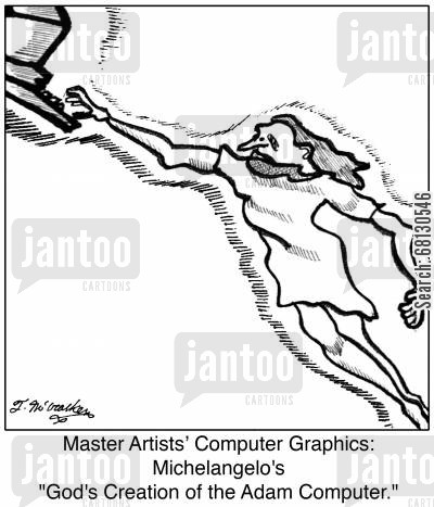 frescos cartoon humor: Master Artists' Computer Graphics: Michelangelo's 'God's Creation of the Adam Computer.'