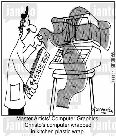 modern art cartoon humor: Master Artists' Computer Graphics: Christo's computer wrapped in kitchen plastic wrap.