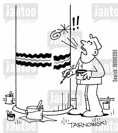 border cartoon humor: Decorating a column.