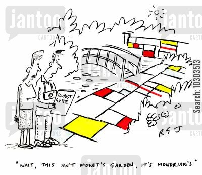landscape gardening cartoon humor: 'Wait, this isn't Monet's garden, it's Mondrian's.'