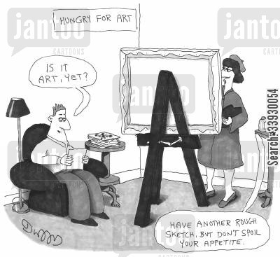 sketches cartoon humor: Hungry For Art.