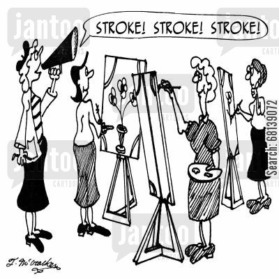 art lessons cartoon humor: 'Stroke! Stroke! Stroke!'