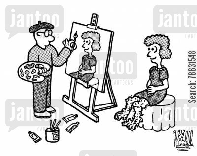 portraiture cartoon humor: Painter avoids painting a pretty woman's ugly legs.