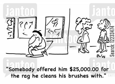 clean brushes cartoon humor: 'Somebody offered him £25.000.00 for the rag he cleans his brushes with.'