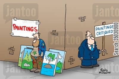 art critics cartoon humor: Paintings, paintings critiqued.