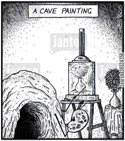 oil painting cartoon humor: A Cave Painting