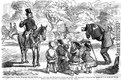carte de visite cartoon humor: Man having his equestrian portrait taken by a photographer