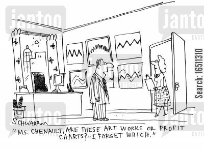 profit graphs cartoon humor: 'Ms Chenault, are these art works or profit charts? I forget which.'