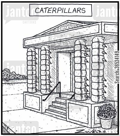 column cartoon humor: Caterpillers in the form of Building Structure Pillars