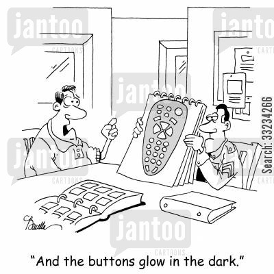 police artists cartoon humor: 'And the buttons glow in the dark.'