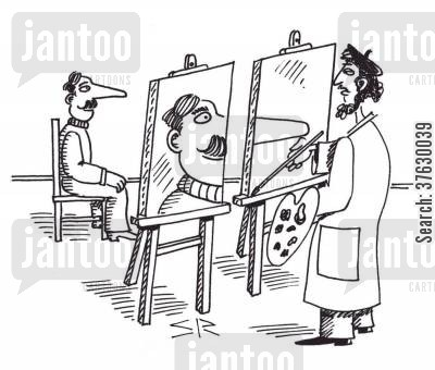 canvases cartoon humor: Artist needs two canvases to paint portrait of model with large nose.