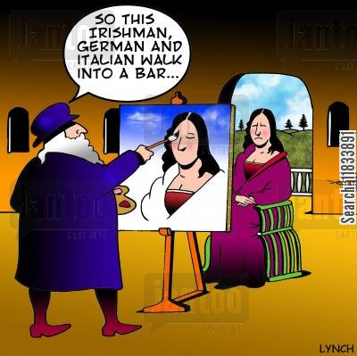 portrait painter cartoon humor: Trying to raise a smile.