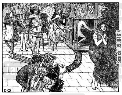pre-raphelites cartoon humor: Illustration for 'A Legend of Camelot', scene 1.