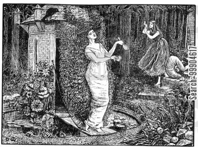 dante gabriel rossetti cartoon humor: Illustration for 'A Legend of Camelot', scene 2.