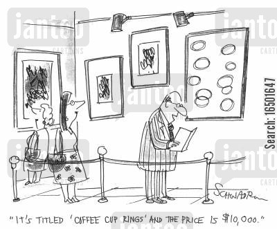 coffee cup rings cartoon humor: It's titled 'Coffee Cup Rings' and the price is $10, 000.