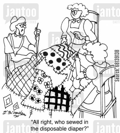 seamstress cartoon humor: 'All right, who sewed in the disposable diaper?'