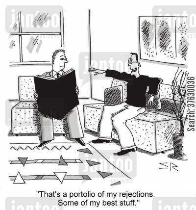 rejections cartoon humor: 'That's a portfolio of my rejections, Some of my best stuff,'
