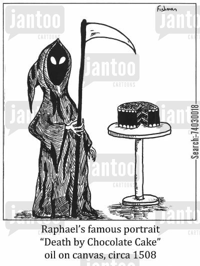 just desserts cartoon humor: Raphael's famous portrait 'Death by Chocolate Cake' oil on canvas, circa 1508