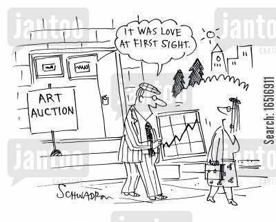 art auctions cartoon humor: 'It was love at first sight!'