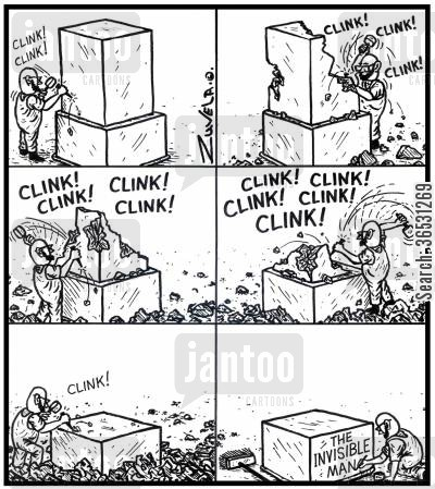 invisible man cartoon humor: A Sculptor chiselling out 'The Invisible Man' from a block of stone.