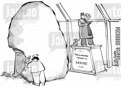 dedication cartoon humor: Sculptor copying from a model.