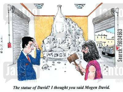 sculpted cartoon humor: 'The statue of David? I thought you said Mogen David.'