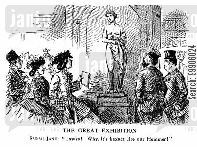 academy exhibition 1860 cartoon humor: Appreciating Sculpture