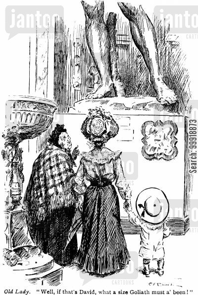 victorian tourist cartoon humor: David and Goliath