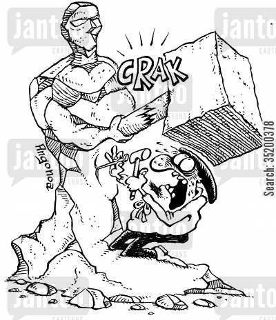 crushed cartoon humor: Sculpturer about to be crushes by broken bit of own sculpture