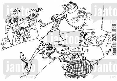 catwalk cartoon humor: Cat walk photographer taking photo up models skirt