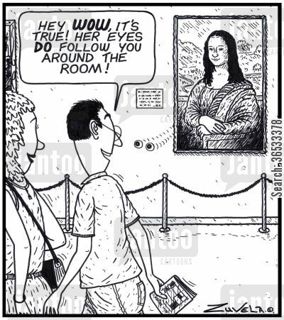 portrait galleries cartoon humor: Man: 'Hey WOW, it's true! Her eyes DO follow you around the room!'