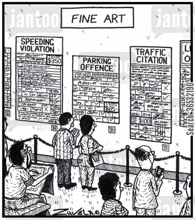 parking violation cartoon humor: Fine Art.