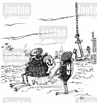 tattooists cartoon humor: Tattooist underwater copying an anchor.