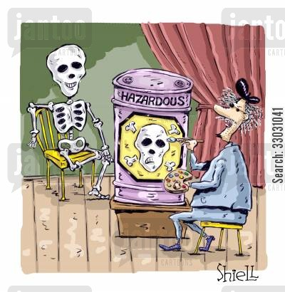 hazardous materials cartoon humor: Skeleton Model.