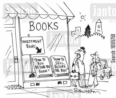 speculation cartoon humor: Bookshop selling investment advice books.