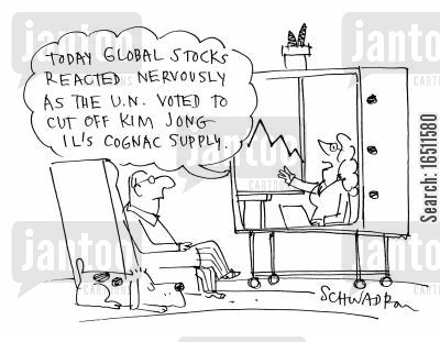 korea cartoon humor: 'Today global stocks reacted nervously as the UN voted to cut of Kim Jong Il's Cognac Supply.'
