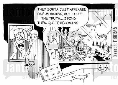 avarice cartoon humor: ...To tell the truth, I find them quite becoming.