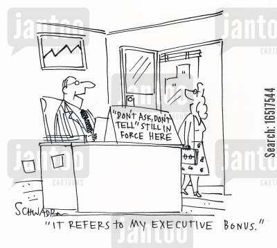 pay checks cartoon humor: 'It refers to my executive bonus.'