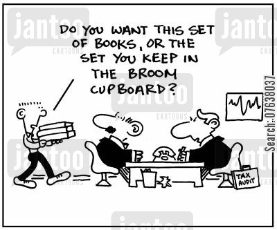 revenue and customes cartoon humor: 'Do you want this set of books, or the set you keep in the broom cupboard?'
