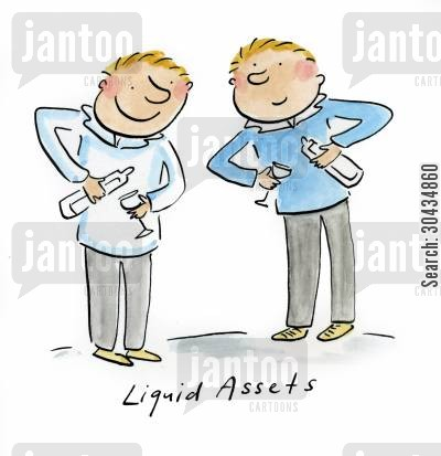 asset cartoon humor: Liquid Assets