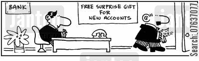 transaction cartoon humor: 'A kitten is the surprise gift for new customers.'