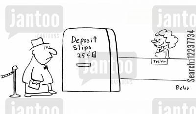 bank acount cartoon humor: Deposit Slips - 25c.