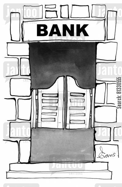 account cartoon humor: Bank (with saloon type doors)