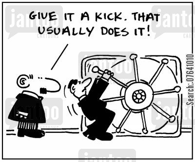 security system cartoon humor: 'Give it a kick. That usually does it.'