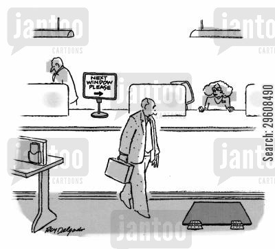 bank tellers cartoon humor: Next window please.