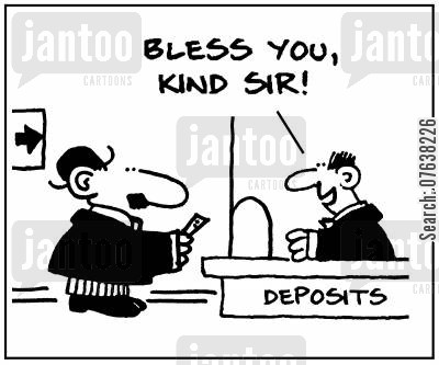 building society cartoon humor: 'Bless you, kind sir.'