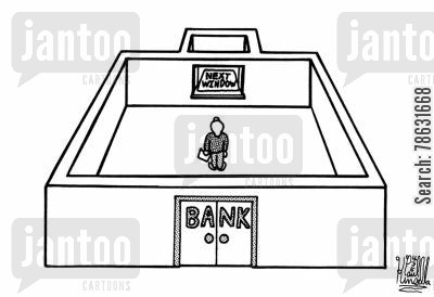 scams cartoon humor: Man goes into bank only to discover that the only window is closed.