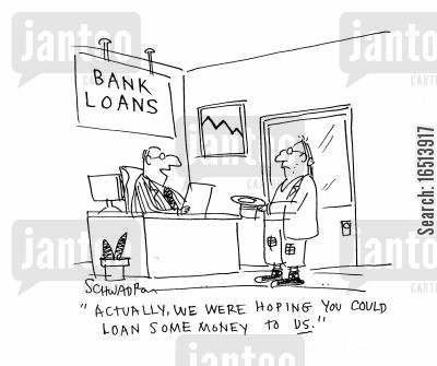 homeless men cartoon humor: 'Actually, we were hoping you could loan some money to us.'