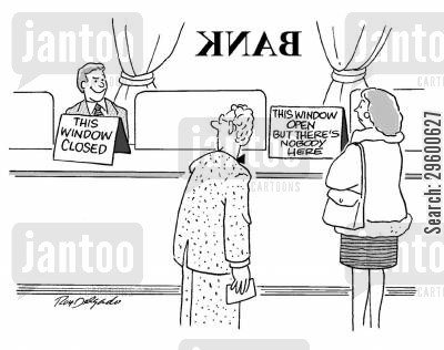 queuing cartoon humor: Bad service in a bank.