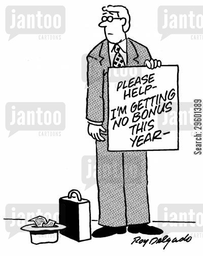 financial crisis cartoon humor: 'Please help - I'm getting no bonus this year.'